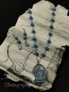 Blue and Silver Buddha Necklace and Earring Set